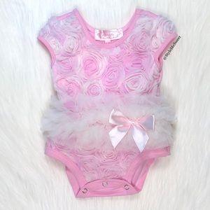 Nordstrom Popatu pink floral tutu bodysuit
